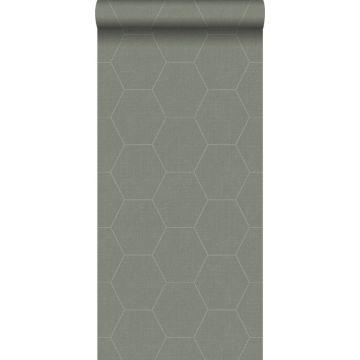 papier peint hexagone vert olive grisé de ESTA home