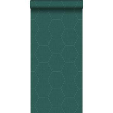 papier peint hexagone vert pétrole de ESTA home