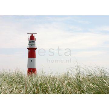 papier peint panoramique phare rouge, blanc et vert de ESTA home