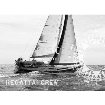 papier peint panoramique bateau à voile noir et blanc de ESTA home