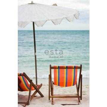 papier peint panoramique la plage bleu canard et orange de ESTA home
