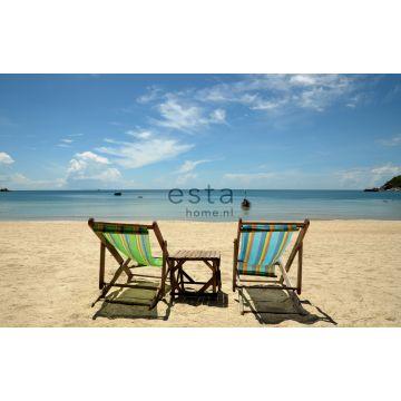 papier peint panoramique plage bleu et beige de ESTA home