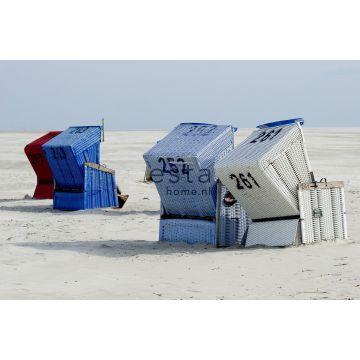 papier peint panoramique chaise de plage bleu et beige de ESTA home