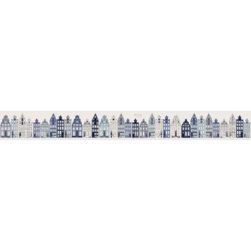 frise papier peint intissé XXL maisons bordant les canaux d'Amsterdam bleu de ESTA home