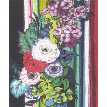 papier peint panoramique fleurs noir, rouge, bleu, blanc et vert de ESTA home