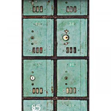 papier peint panoramique boîtes aux lettres bleu canard de ESTA home