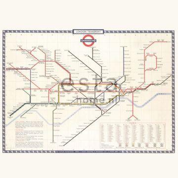 papier peint panoramique Plan du metro de Londres beige, rouge et bleu de ESTA home
