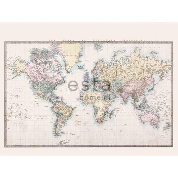 papier peint panoramique carte du monde vintage beige, jaune pastel, rose poudre clair et vert de ESTA home