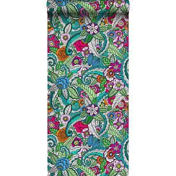 papier peint intissé XXL mandala de fleurs rose, vert, orange, violet et bleu de ESTA home