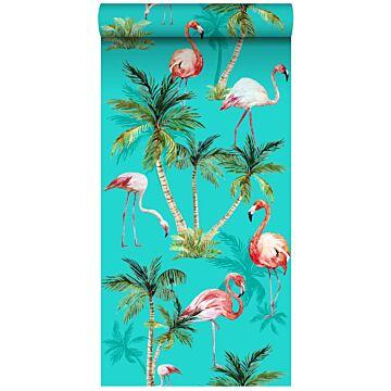 papier peint intissé XXL flamants Roses turquoise, vert et rose de ESTA home