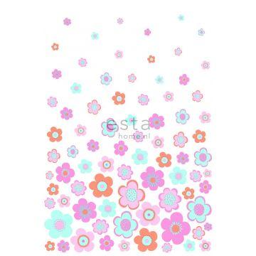 papier peint panoramique fleurs vintages turquoise, rose et violet de ESTA home