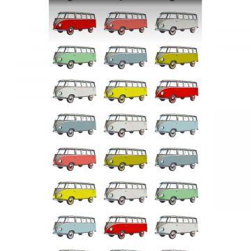 papier peint intissé XXL fourgonnettes vintage Volkswagen transporter jaune, bleu, gris, rouge et vert de ESTA home