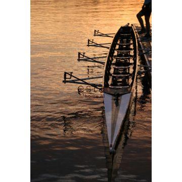 papier peint panoramique barque au coucher du soleil marron et orange de ESTA home