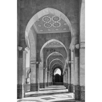 papier peint panoramique Galerie de Riad marocain Marrakech noir et blanc de ESTA home