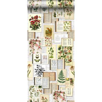 papier peint intissé XXL pages d'un livre botanique avec fleurs et plantes beige crème clair, vert, marron et jaune ocre de ESTA home