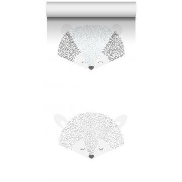 papier peint intissé XXL têtes d'animaux gris clair et noir de ESTA home