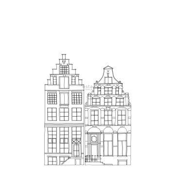 papier peint panoramique maisons bordant les canaux d'Amsterdam dessinées noir et blanc de ESTA home