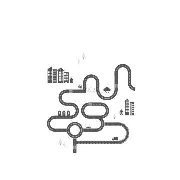 papier peint panoramique rue dessinée noir et blanc de ESTA home