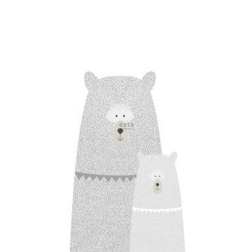 papier peint panoramique ours mère et enfant gris clair de ESTA home