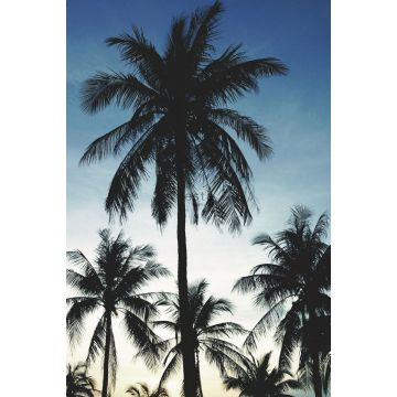 papier peint panoramique palmiers bleu, noir et beige de ESTA home