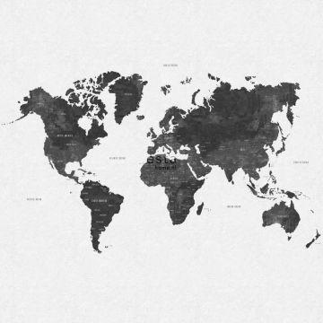 papier peint panoramique carte du monde vintage noir grisé de ESTA home