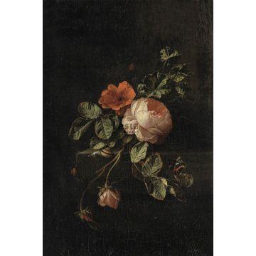 papier peint panoramique nature morte de fleurs rouge foncé et noir de ESTA home