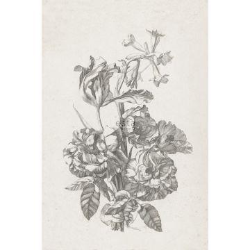 papier peint panoramique nature morte de fleurs noir et blanc de ESTA home