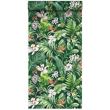 papier peint intissé XXL feuilles et fleurs tropicales vert émeraude de ESTA home