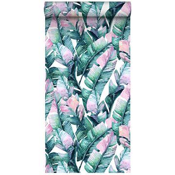 papier peint intissé XXL feuilles de bananier turquoise et rose de ESTA home