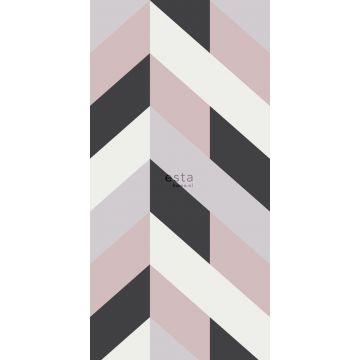 papier peint panoramique chevron noir, blanc et vieux rose de ESTA home