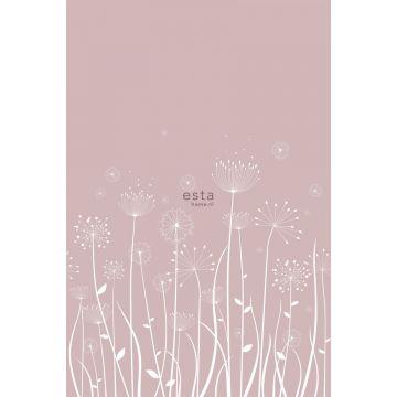 papier peint panoramique silhouettes de pissenlit blanc et vieux rose de ESTA home