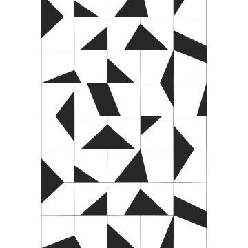 papier peint panoramique motif de carrellages noir et blanc de ESTA home