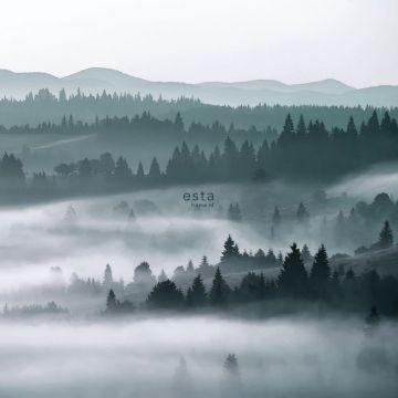 papier peint panoramique montagnes brumeuses vert de ESTA home