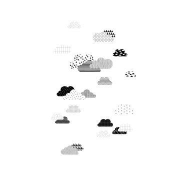 papier peint panoramique nuages noir et blanc de ESTA home