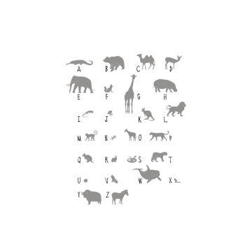 papier peint panoramique animaux ABC gris de ESTA home