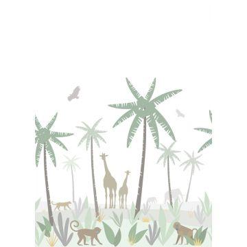 papier peint panoramique animaux de la jungle vert, gris et marron de ESTA home