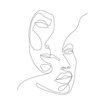 papier peint panoramique visages noir et blanc de ESTA home