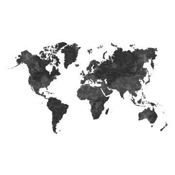 papier peint panoramique carte du monde gris charbon de bois de ESTA home