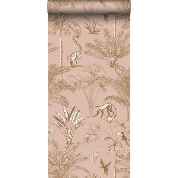 papier peint intissé XXL jungle rose pêche de ESTA home
