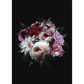 papier peint panoramique nature morte de fleurs multicolore sur noir de ESTA home