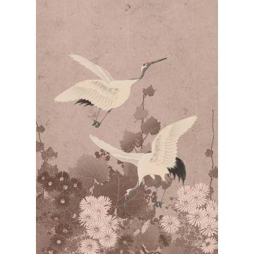 papier peint panoramique oiseaux de grue gris rose de ESTA home