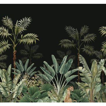 papier peint panoramique jungle noir et vert grisé de ESTA home