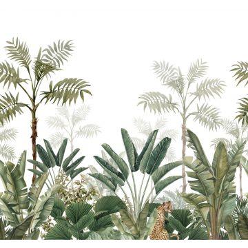papier peint panoramique jungle blanc et vert olive grisé de ESTA home