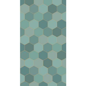 papier peint panoramique hexagone bleu canard et bleu canard de ESTA home
