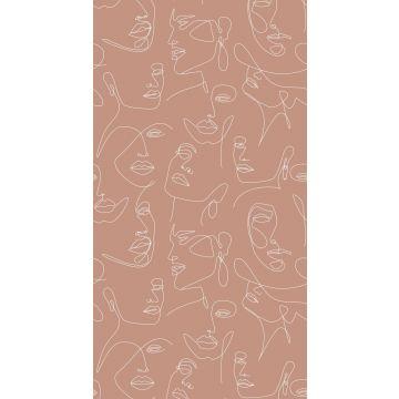 papier peint panoramique visages terracotta et blanc de ESTA home