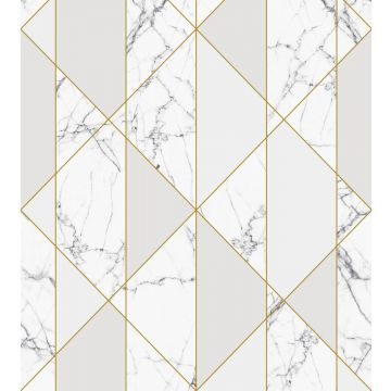 papier peint panoramique marbre noir et blanc, gris et or de ESTA home