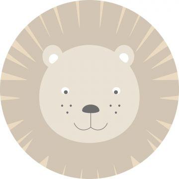 papier peint panoramique rond adhésif têtes d'animaux beige de ESTA home