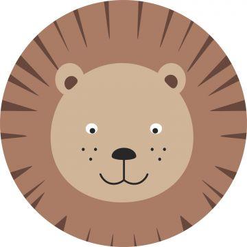 papier peint panoramique rond adhésif têtes d'animaux marron et beige de ESTA home