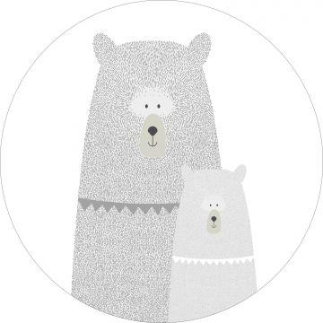 papier peint panoramique rond adhésif ours mère et enfant gris clair de ESTA home