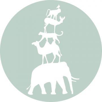 papier peint panoramique rond adhésif animaux empilés vert menthe et blanc de ESTA home